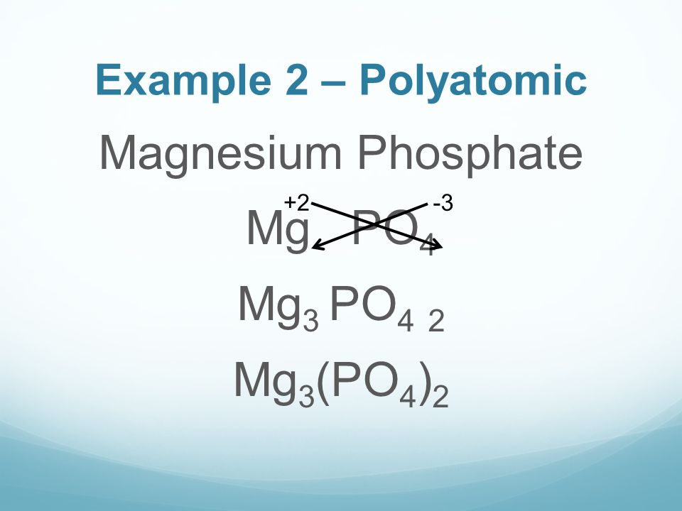 Example 2 – Polyatomic Magnesium Phosphate Mg PO 4 Mg 3 PO 4 2 Mg 3 (PO 4 ) 2 +2-3