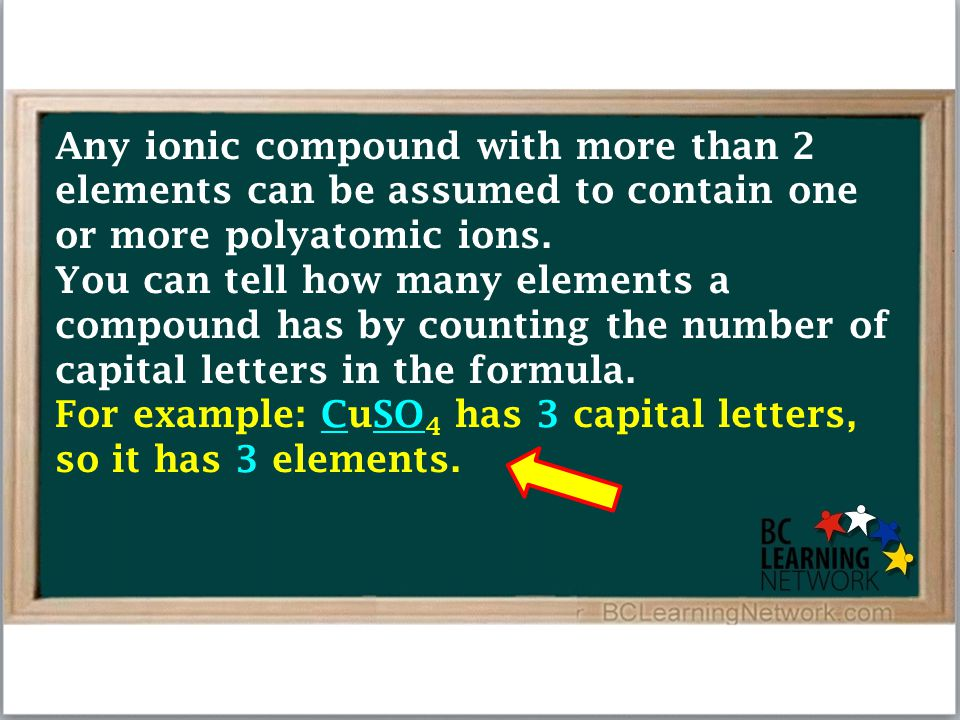 Any ionic compound with more than 2 elements can be assumed to contain one or more polyatomic ions. You can tell how many elements a compound has by c