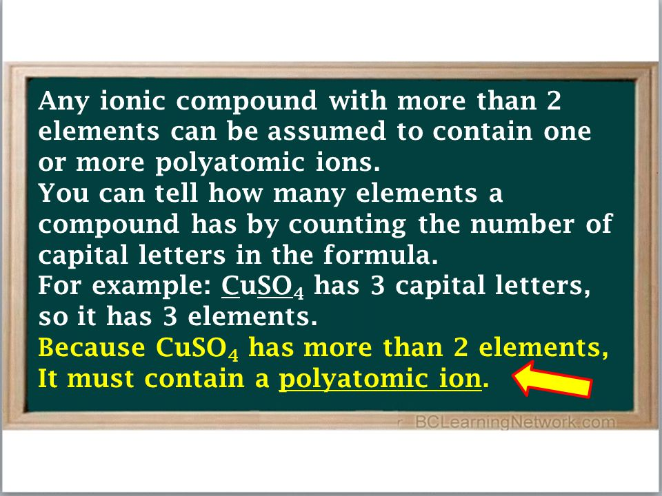Any ionic compound with more than 2 elements can be assumed to contain one or more polyatomic ions.