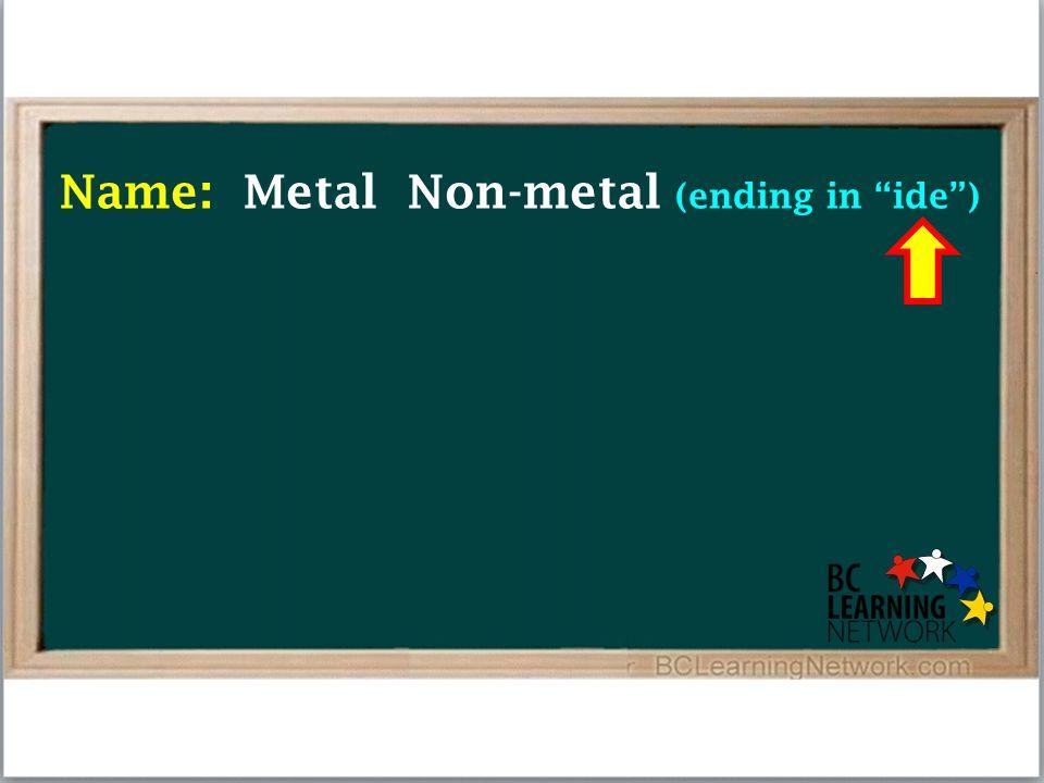 Name: Metal Non-metal (ending in ide )