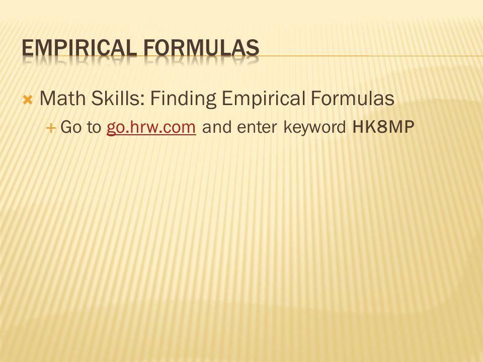  Math Skills: Finding Empirical Formulas  Go to go.hrw.com and enter keyword HK8MPgo.hrw.com