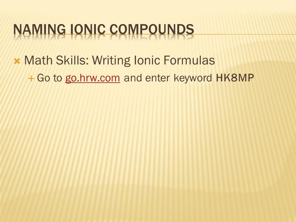  Math Skills: Writing Ionic Formulas  Go to go.hrw.com and enter keyword HK8MPgo.hrw.com