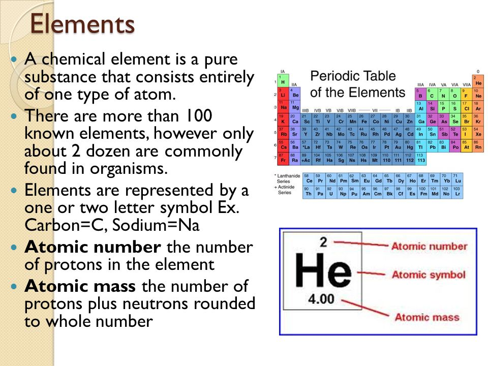 Elements A chemical element is a pure substance that consists entirely of one type of atom. There are more than 100 known elements, however only about