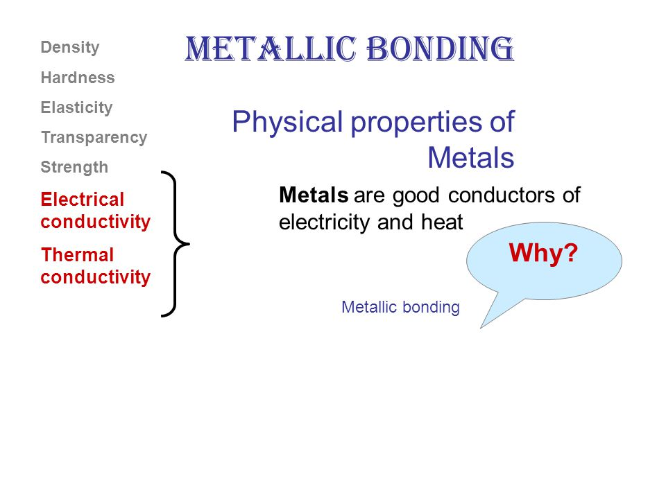 Metals are good conductors of electricity and heat Density Hardness Elasticity Transparency Strength Electrical conductivity Thermal conductivity Physical properties of Metals Why.