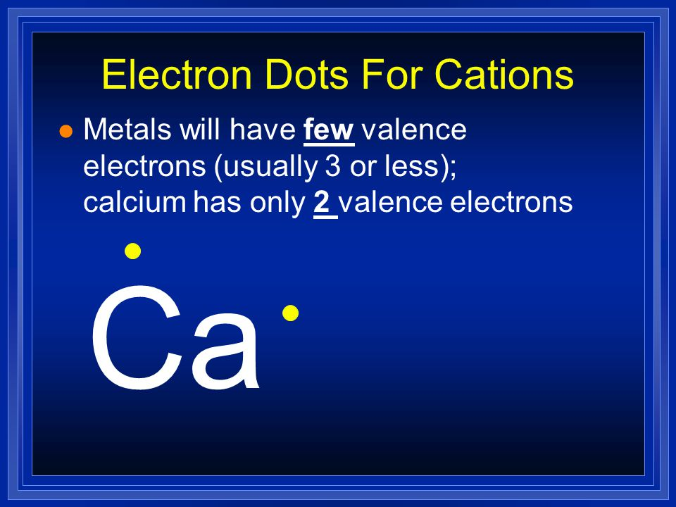 Formation of Cations l If we look at the electron configuration, it makes sense to lose electrons: l Na 1s 2 2s 2 2p 6 3s 1 1 valence electron l Na 1+