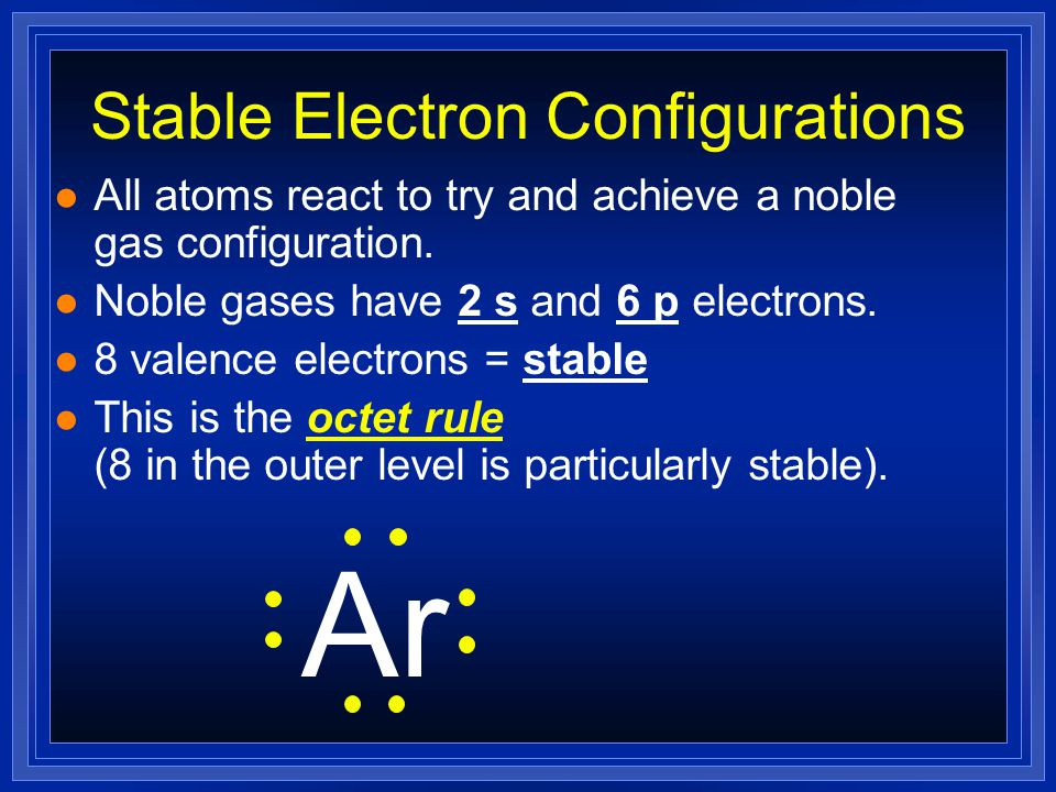 Electron Dots For Anions l Nonmetals will have many valence electrons (usually 5 or more) l They will gain electrons to fill outer shell. P 3- (This i