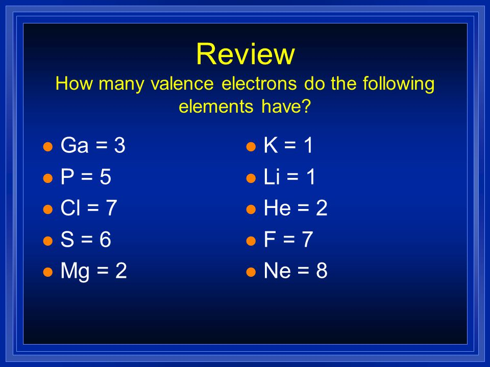 Stable Electron Configurations l All atoms react to try and achieve a noble gas configuration. l Noble gases have 2 s and 6 p electrons. l 8 valence e