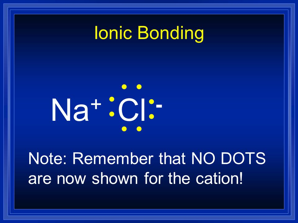 Ionic Bonding NaCl The metal loses its one electron from the outer level. The nonmetal gains one more to fill its outer level, and will accept the one