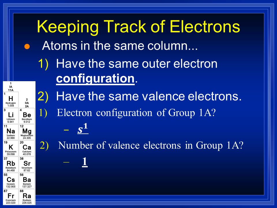 Valence Electrons are…? l Valence electrons – The s and p electrons in the outer energy level –the highest occupied energy level l Core electrons – el