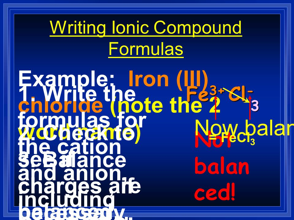 Writing Ionic Compound Formulas Example: Ammonium sulfate (note the 2 word name) 1. Write the formulas for the cation and anion, including CHARGES! NH