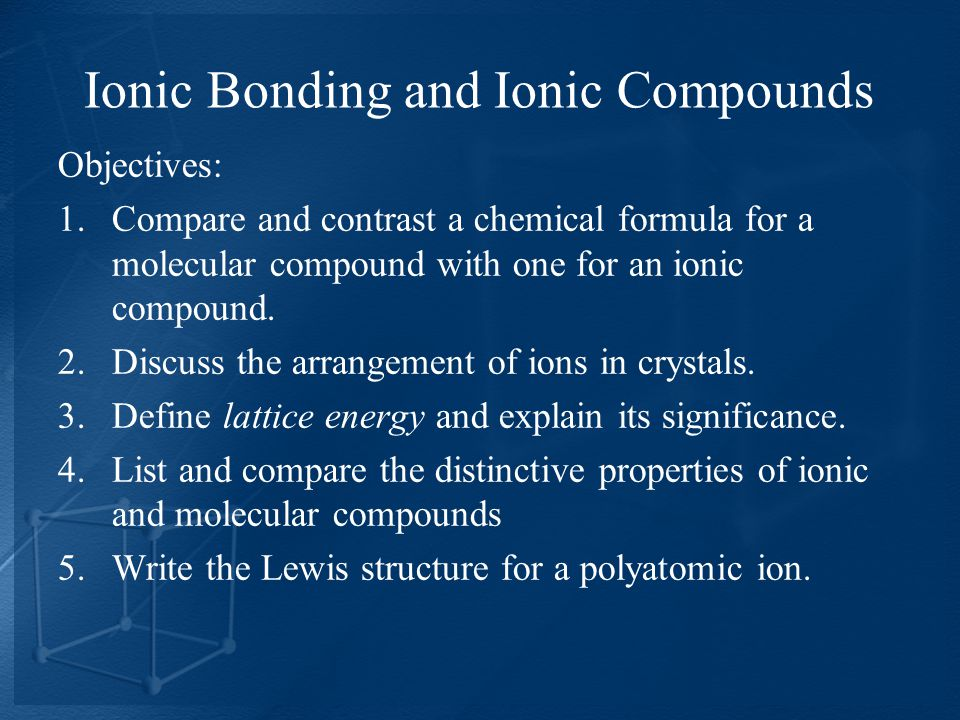 Objectives: 1.Compare and contrast a chemical formula for a molecular compound with one for an ionic compound.