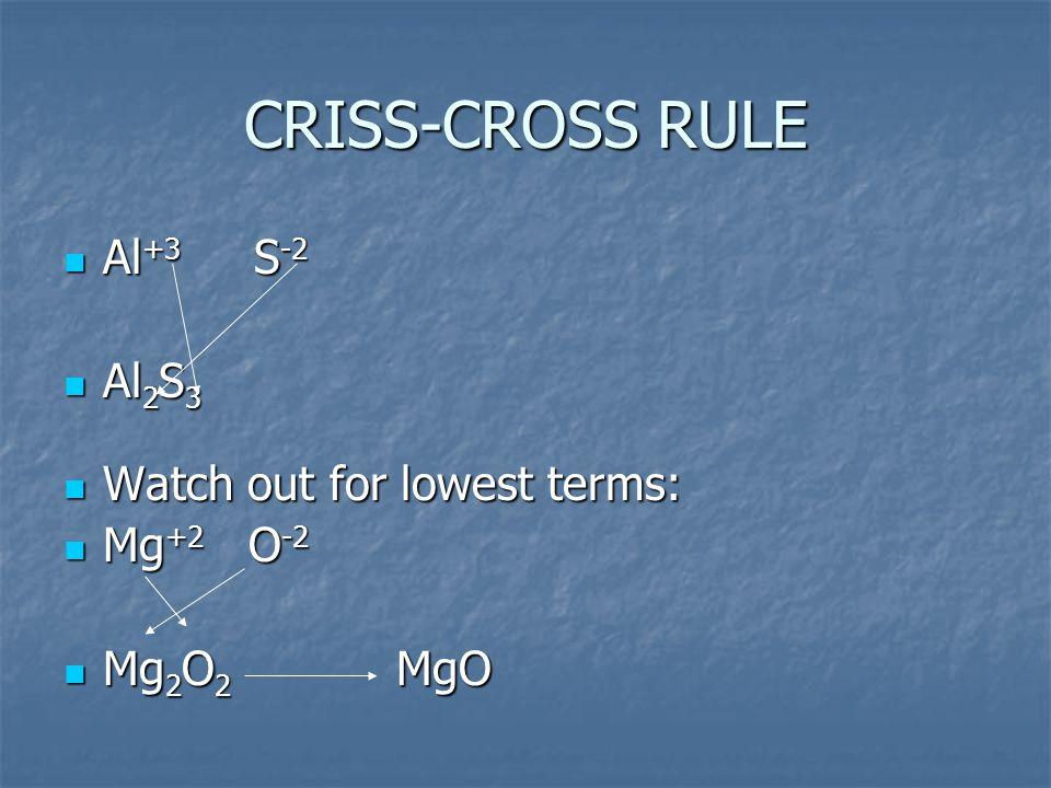 CRISS-CROSS RULE Al +3 S -2 Al +3 S -2 Al 2 S 3 Al 2 S 3 Watch out for lowest terms: Watch out for lowest terms: Mg +2 O -2 Mg +2 O -2 Mg 2 O 2 MgO Mg 2 O 2 MgO
