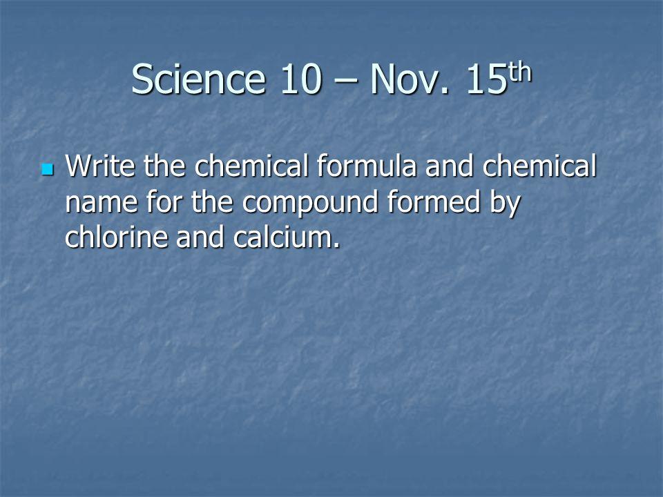 Science 10 – Nov.
