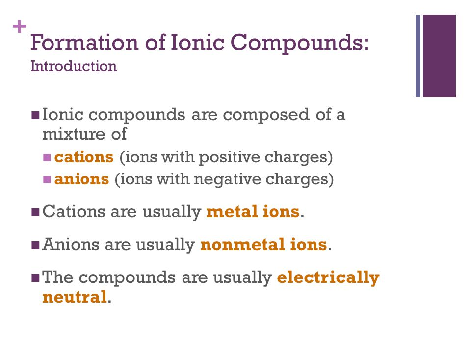 + Formation of Ionic Compounds: Introduction Ionic compounds are composed of a mixture of cations (ions with positive charges) anions (ions with negat