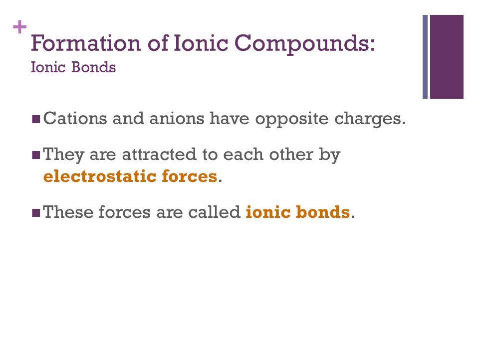 + Formation of Ionic Compounds: Ionic Bonds Cations and anions have opposite charges. They are attracted to each other by electrostatic forces. These