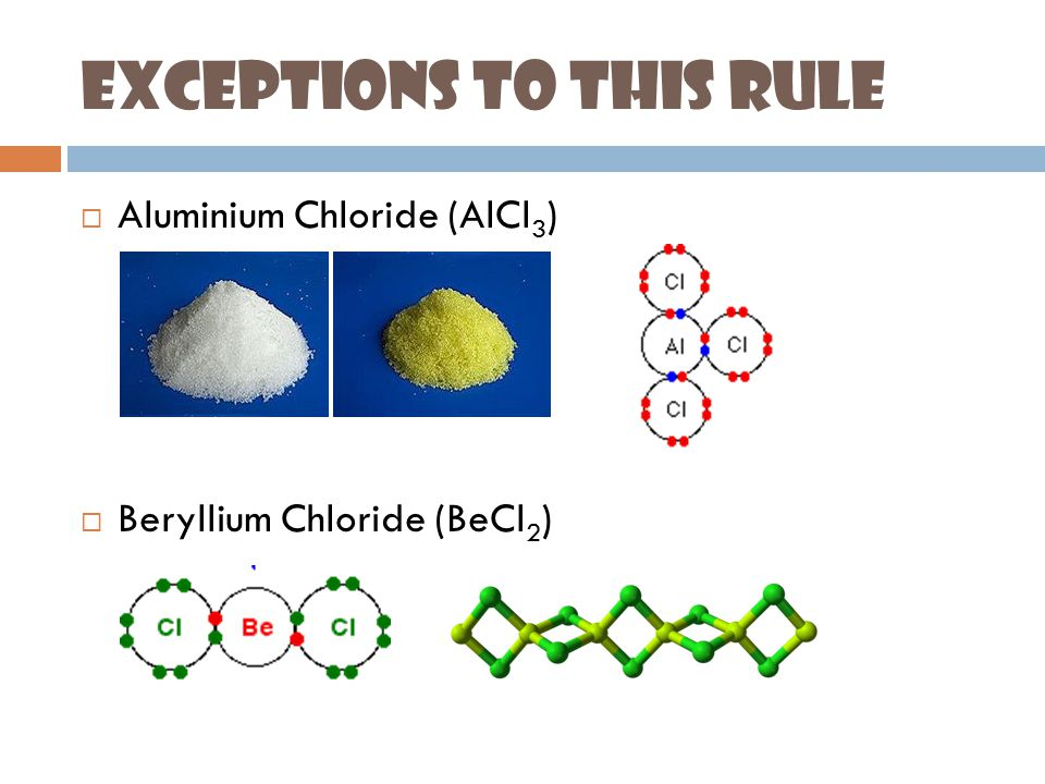 Exceptions to This Rule  Aluminium Chloride (AlCl 3 )  Beryllium Chloride (BeCl 2 )
