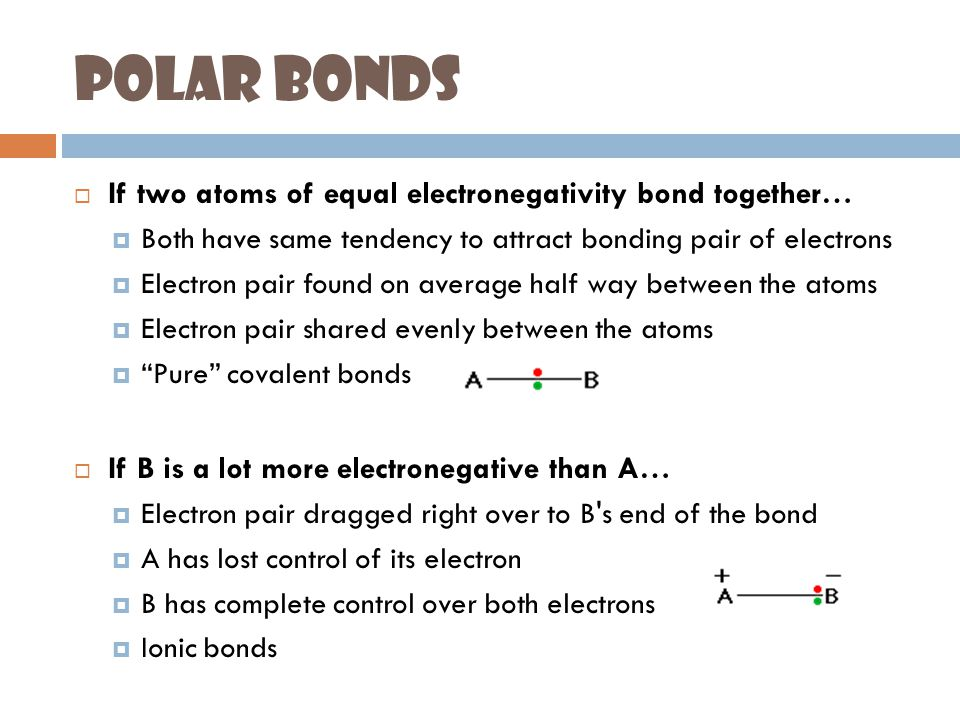 Polar Bonds (II)  If B is slightly more electronegative than A…  B attracts electron pair more than A does  B's end of the bond slightly negative  A's end of the bond slightly positive  Polar bond Water is a polar covalent bond!