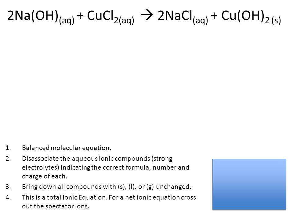 2Na(OH) (aq) + CuCl 2(aq)  2NaCl (aq) + Cu(OH) 2 (s) 1.Balanced molecular equation. 2.Disassociate the aqueous ionic compounds (strong electrolytes)