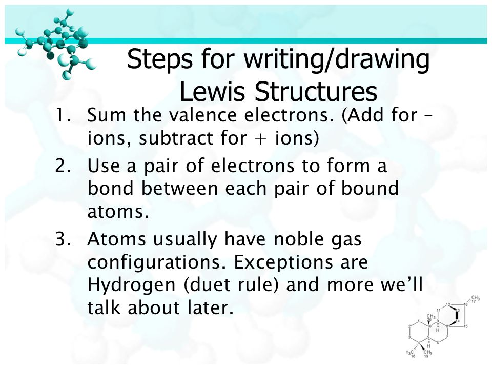 Steps for writing/drawing Lewis Structures 1.Sum the valence electrons.
