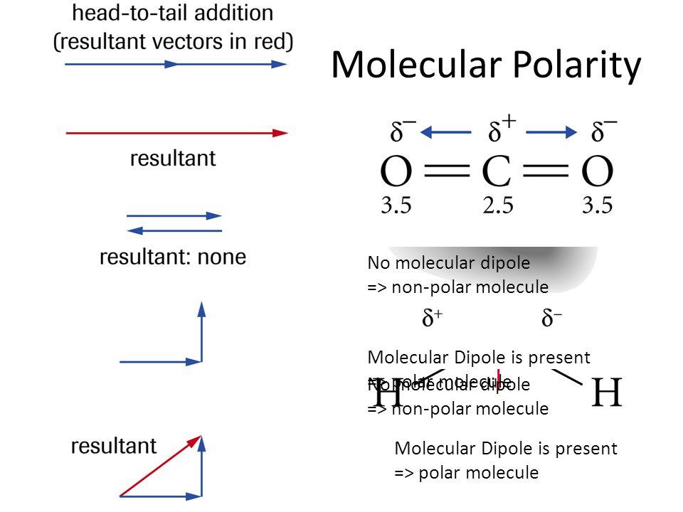 No molecular dipole => non-polar molecule Molecular Polarity Tutorial 1: p. 226 Figure 6: p. 228 p. 227 #1,2 HW: p. 229 #1-7ab Molecular Dipole is pre