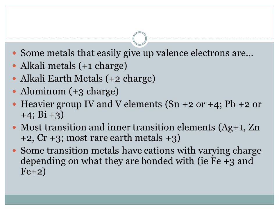 Some metals that easily give up valence electrons are… Alkali metals (+1 charge) Alkali Earth Metals (+2 charge) Aluminum (+3 charge) Heavier group IV and V elements (Sn +2 or +4; Pb +2 or +4; Bi +3) Most transition and inner transition elements (Ag+1, Zn +2, Cr +3; most rare earth metals +3) Some transition metals have cations with varying charge depending on what they are bonded with (ie Fe +3 and Fe+2)