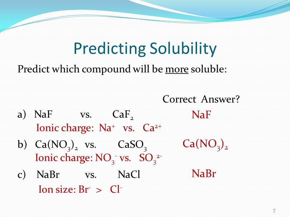 The Solubility Rules The following rules are useful for predicting if a salt is soluble or insoluble: Soluble: Compounds containing ammonium (NH 4 + ) or alkali metal ions (Li +, Na +, K +, Rb +, Cs + ) are soluble.