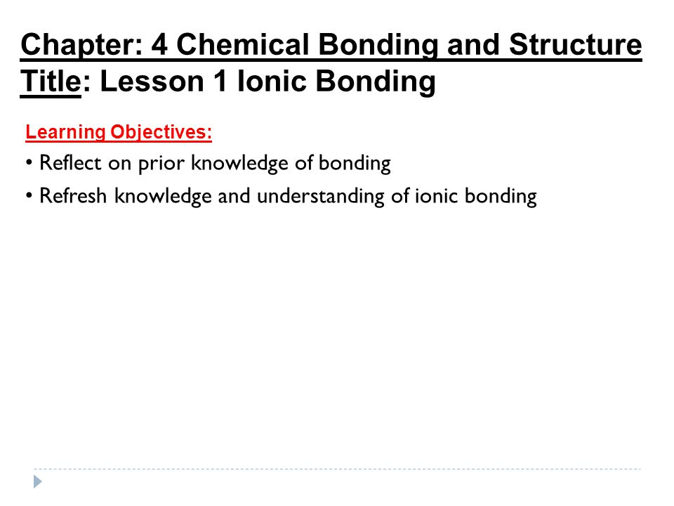 Chapter: 4 Chemical Bonding and Structure Title: Lesson 1 Ionic Bonding Learning Objectives: Reflect on prior knowledge of bonding Refresh knowledge and understanding of ionic bonding