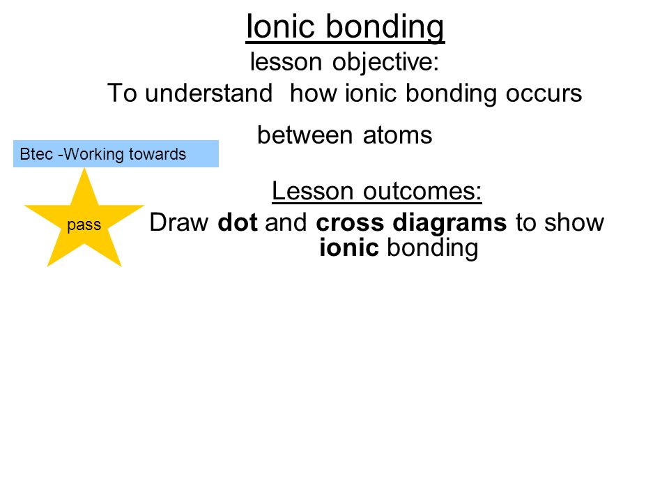Ionic bonding lesson objective: To understand how ionic bonding occurs between atoms Lesson outcomes: Draw dot and cross diagrams to show ionic bonding pass Btec -Working towards
