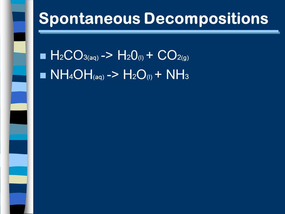 Spontaneous Decompositions n H 2 CO 3 (aq) -> H 2 0 (l) + CO 2 (g) n NH 4 OH (aq) -> H 2 O (l) + NH 3