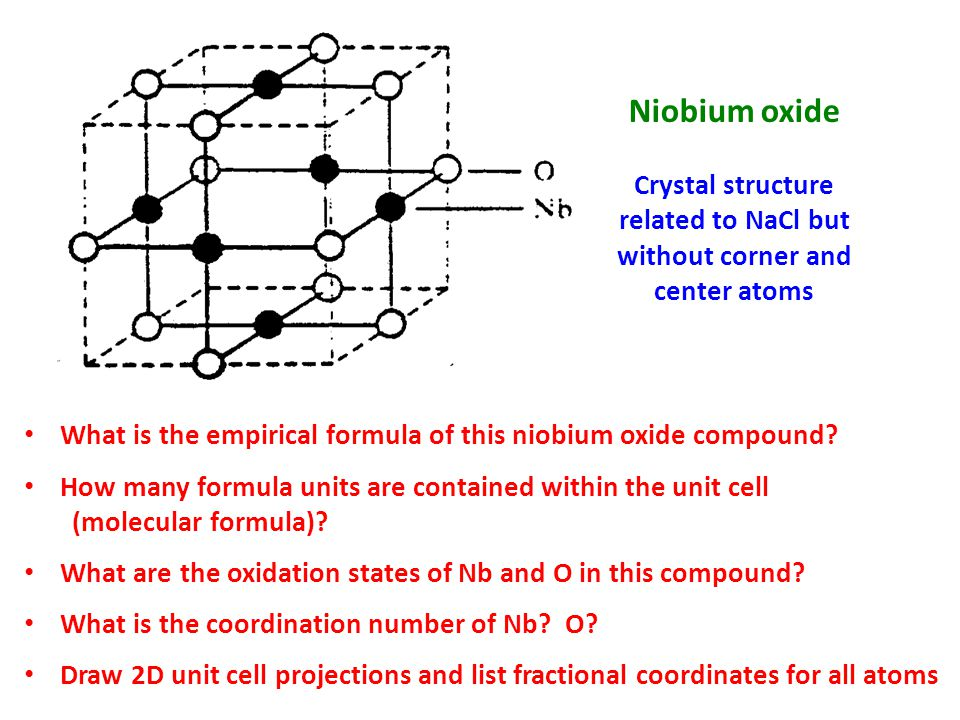 What is the empirical formula of this niobium oxide compound? How many formula units are contained within the unit cell (molecular formula)? What are