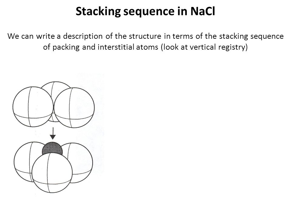 Stacking sequence in NaCl We can write a description of the structure in terms of the stacking sequence of packing and interstitial atoms (look at ver