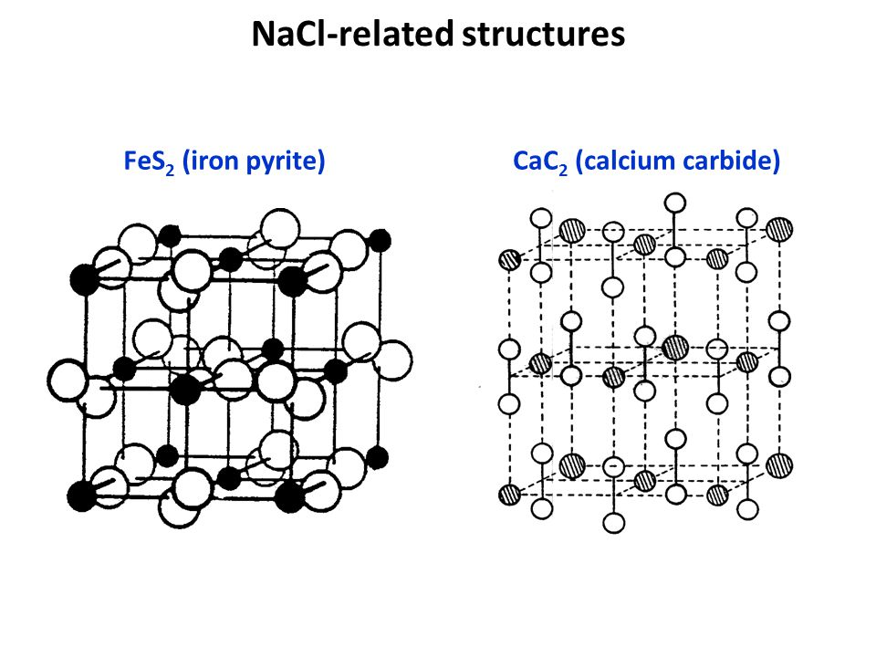 NaCl-related structures FeS 2 (iron pyrite)CaC 2 (calcium carbide)