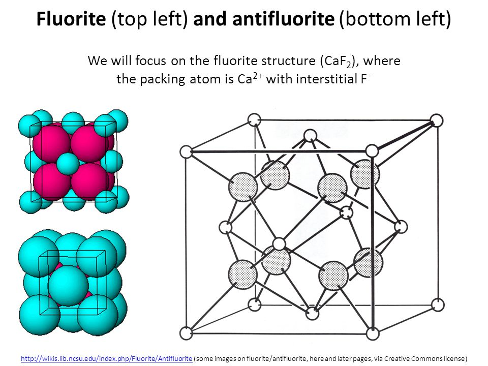 Fluorite (top left) and antifluorite (bottom left) We will focus on the fluorite structure (CaF 2 ), where the packing atom is Ca 2+ with interstitial
