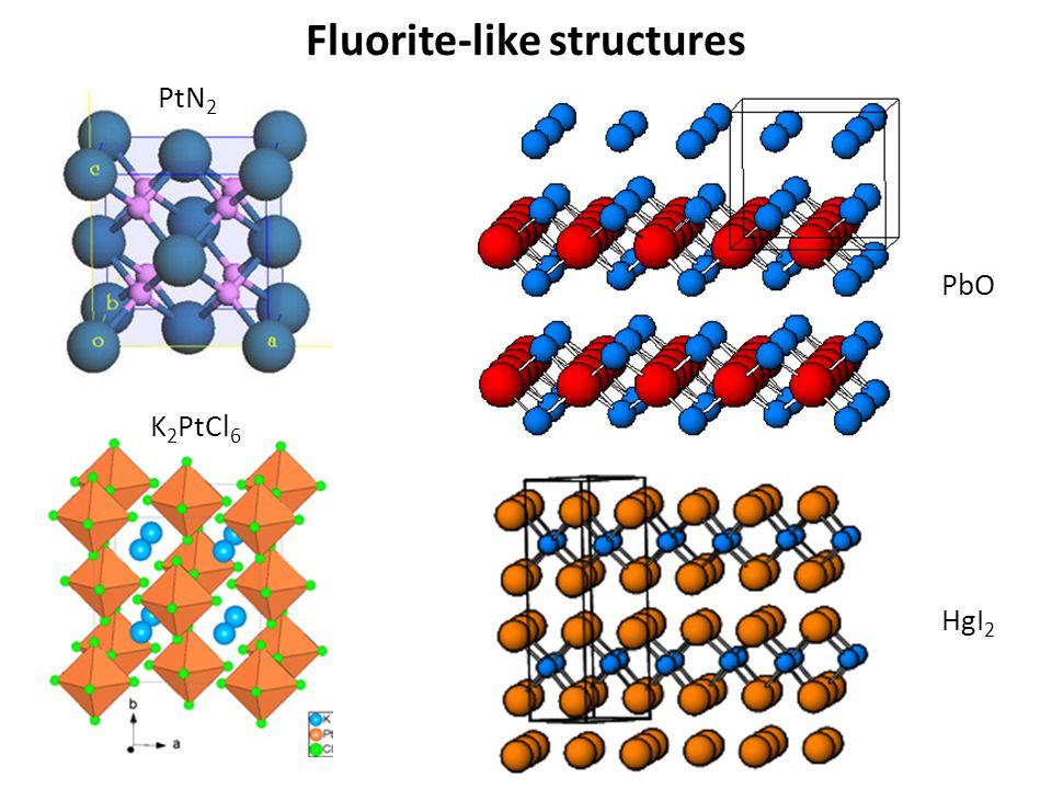 Fluorite-like structures PtN 2 K 2 PtCl 6 PbO HgI 2