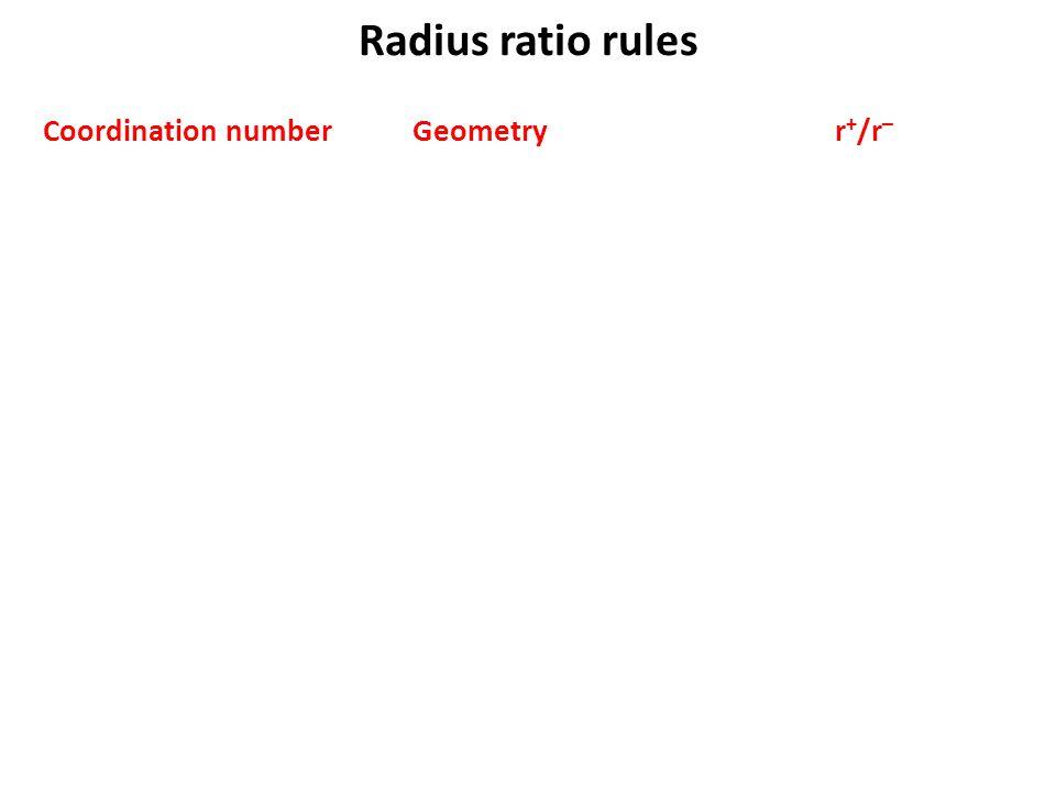 Radius ratio rules Coordination number Geometryr + /r –