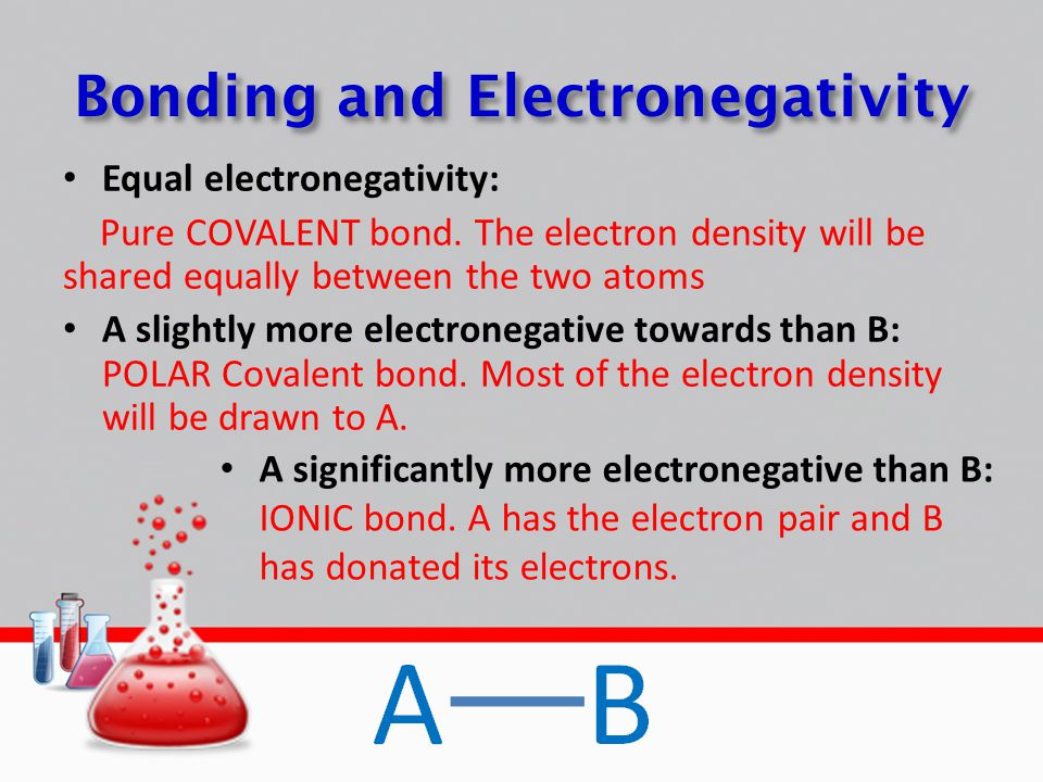 Bonding and Electronegativity Equal electronegativity: Pure COVALENT bond. The electron density will be shared equally between the two atoms A slightl