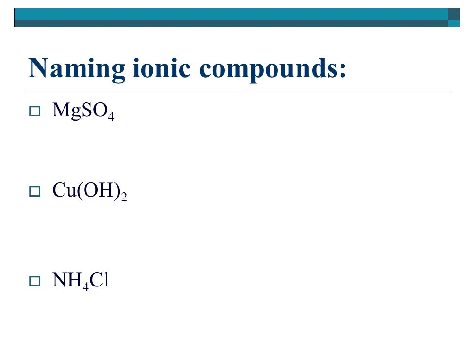 Naming ionic compounds:  MgSO 4  Cu(OH) 2  NH 4 Cl