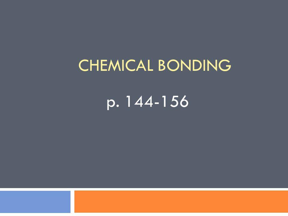 CHEMICAL BONDING p. 144-156