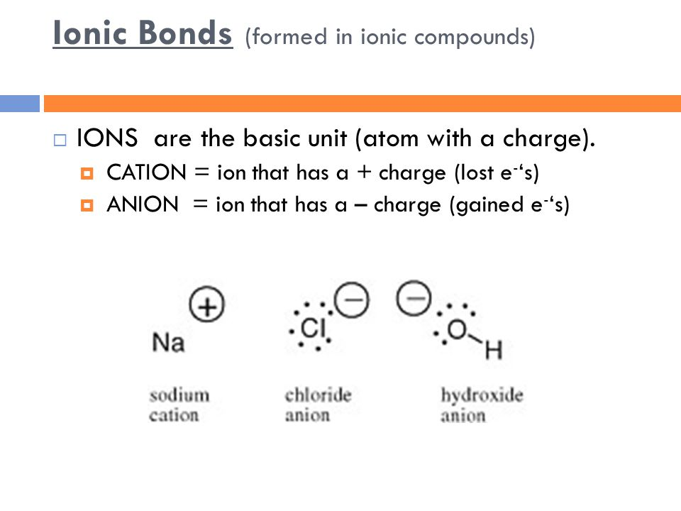 Ionic Bonds (formed in ionic compounds)  IONS are the basic unit (atom with a charge).