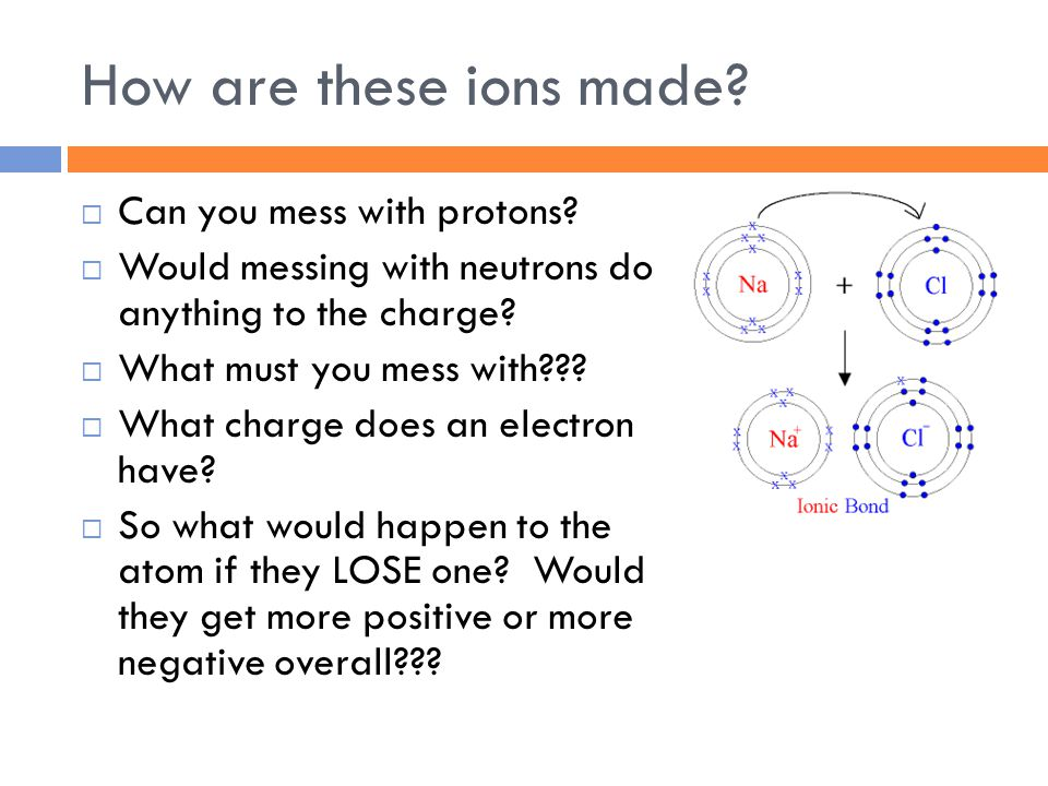 How are these ions made.  Can you mess with protons.