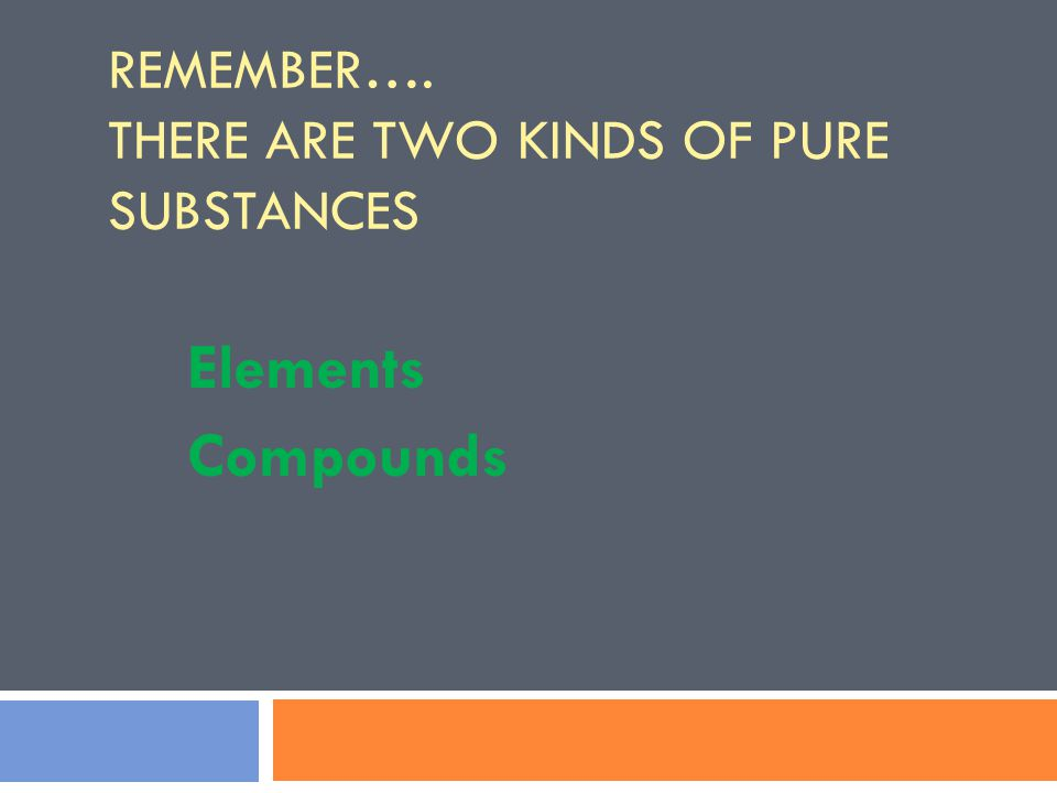 REMEMBER…. THERE ARE TWO KINDS OF PURE SUBSTANCES Elements Compounds