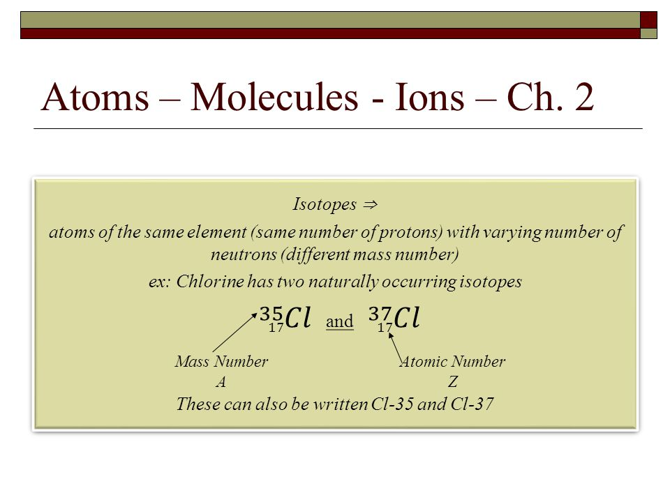 Atoms – Molecules - Ions – Ch. 2 Mass Number A Atomic Number Z
