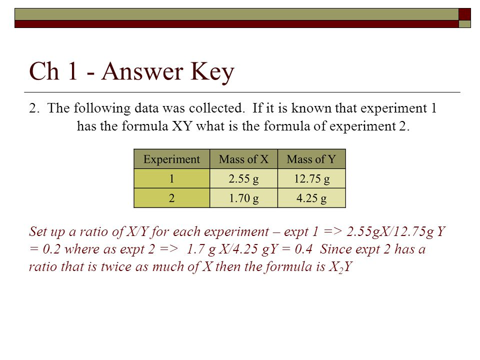 Ch 1 - Answer Key 2. The following data was collected.