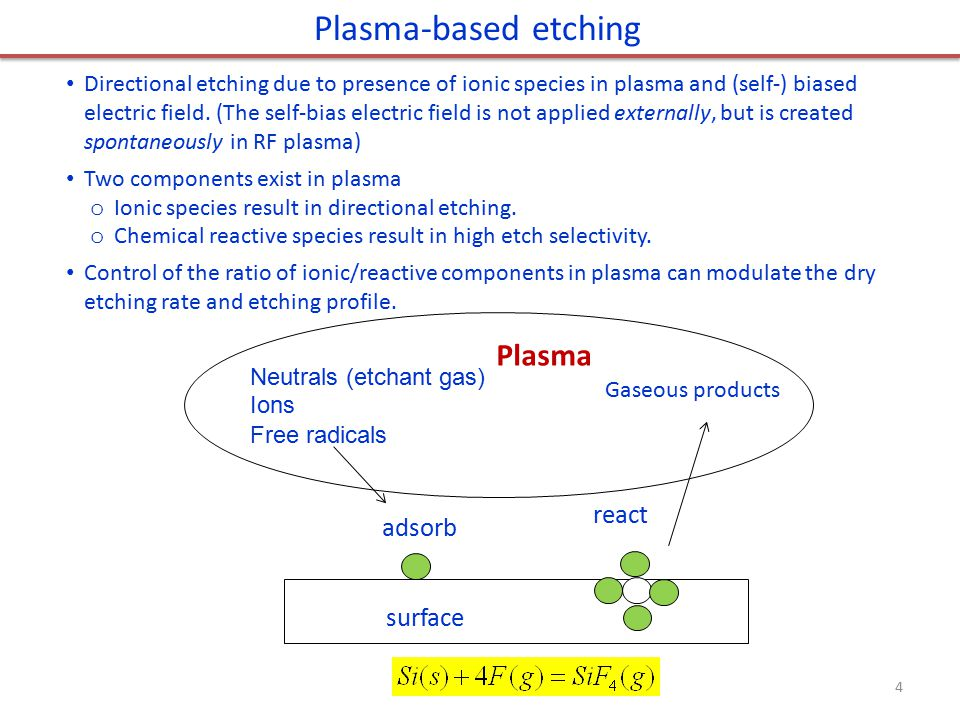 RF plasma chemistry RF plasma is more widely used for dry etching than DC plasma – is there DC plasma dry etching.