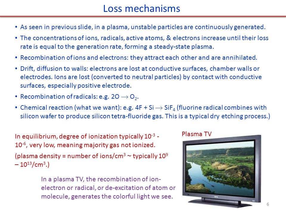 Chemical Process Physical Process Wet etching Plasma etching Reactive Ion etching High density plasma etching Ion milling & Sputter etching Pressure Selectivity Energy (power) Anisotropicity Summary: plasma etching mechanism Chemical etching: free radicals react with material to be removed.