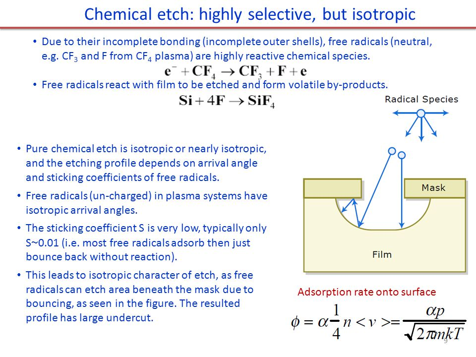 Chemical etch: highly selective, but isotropic Due to their incomplete bonding (incomplete outer shells), free radicals (neutral, e.g. CF 3 and F from