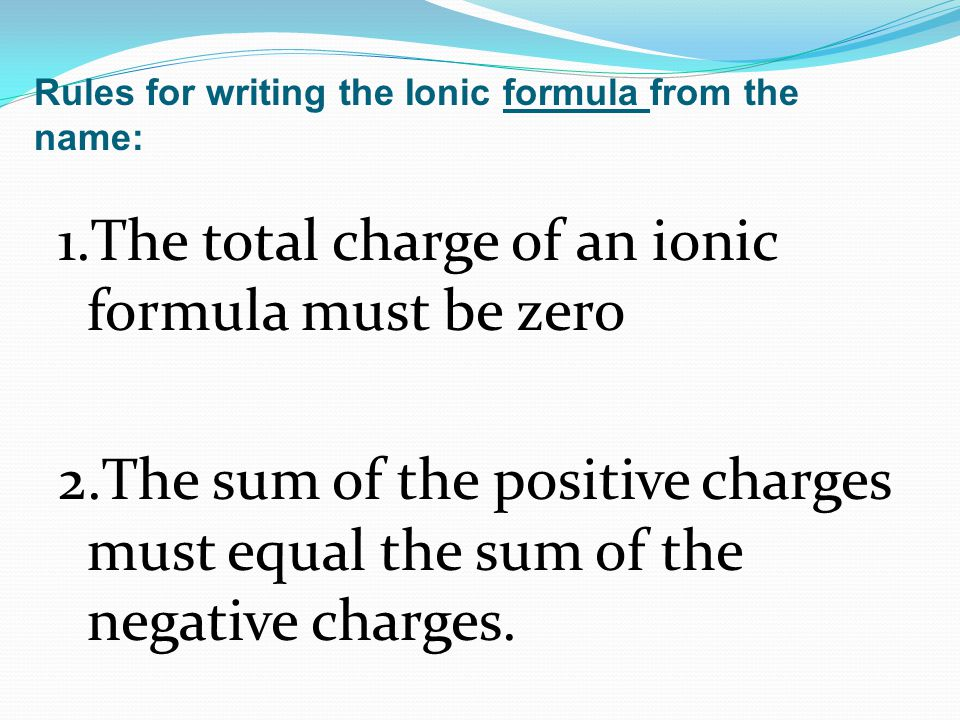 One ion of Mg has +2 charge Mg +2 One ion of Cl has a -1 charge Cl -1 +2+(-1) = +1 The charges do not equal zero, therefore to make this formula, there must be additional ions in this formula.