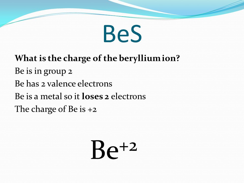BeS What is the charge of the beryllium ion.