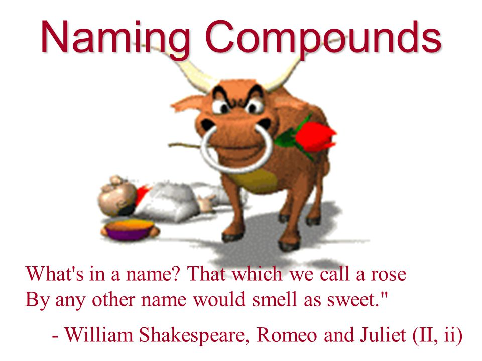 Naming Compounds What s in a name.