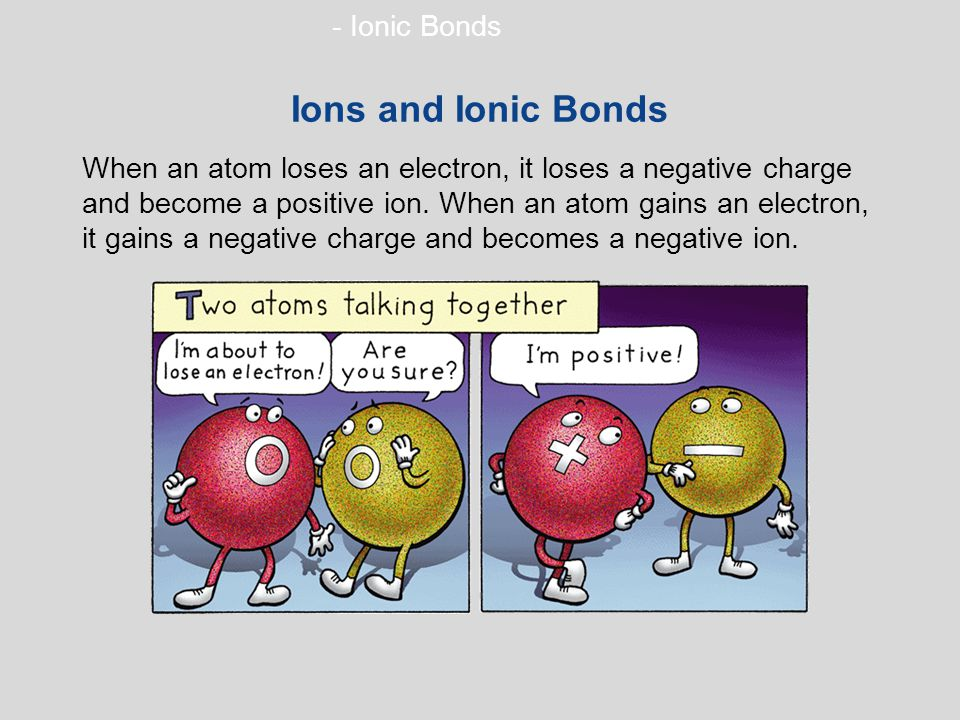 - Ionic Bonds Ions and Ionic Bonds When an atom loses an electron, it loses a negative charge and become a positive ion.